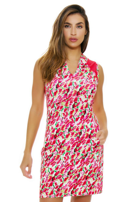 EP Pro NY Women's Poppy Fields Blur Floral Print Golf Dress