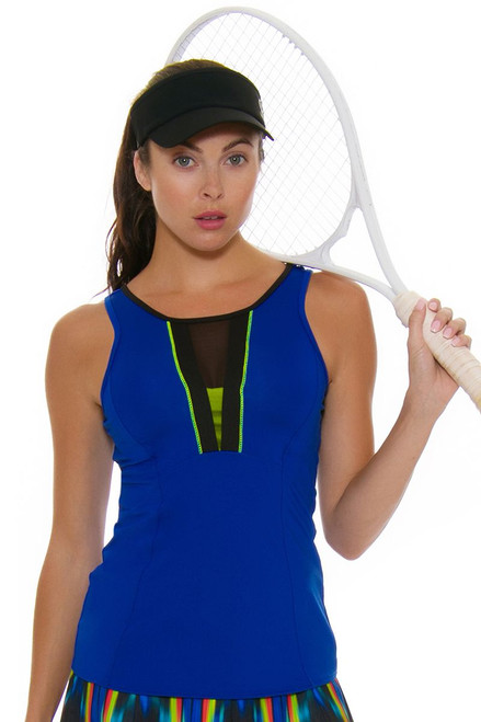 Lucky In Love Women's Technicolor Plunge Sapphire Tennis Tank