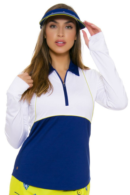 EP Pro NY Women's Palmetto Color Blocked Golf Long Sleeve Polo