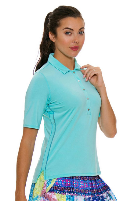 Lucky In Love Women's Festival Le Snap Half Sleeve Lagoon Golf Polo