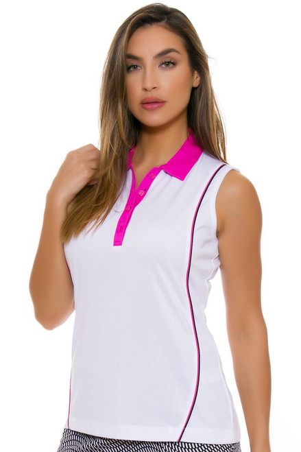 EP Pro NY Women's Marbella Contrast Piped Golf Sleeveless Polo
