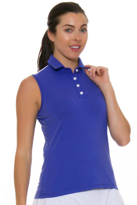Redvanly Women's Linden Periwinkle Sleeveless Polo