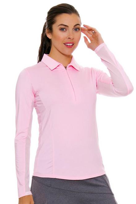 SanSoleil Women's UPF SunGlow Blush Long Sleeve Zip Polo