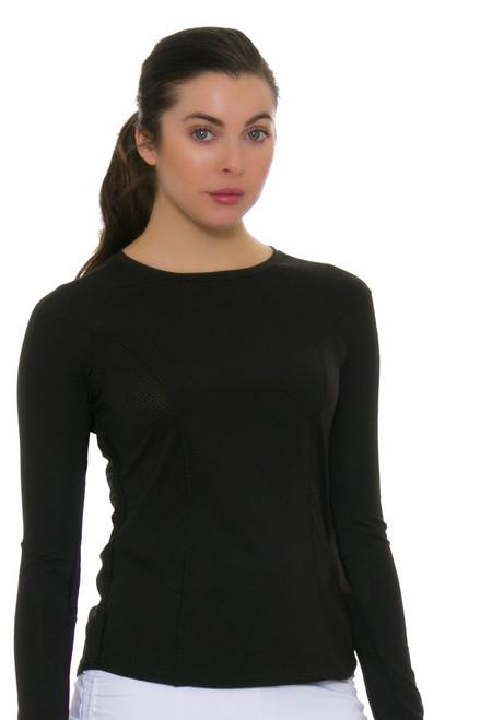 Lucky In Love Women's Core Tops Element Crew Black Tennis Long Sleeve