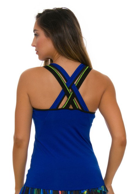 Lucky In Love Women's Technicolor Cover Up Sapphire Tennis Tank LIL-CT352-405 Image 2
