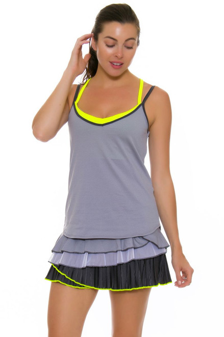 Lucky In Love Women's Love Not War Rally Pleat Tier Charcoal Tennis Skirt