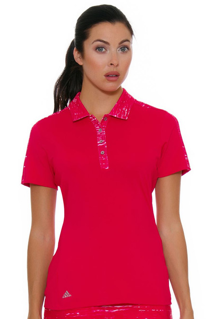 Adidas Women's Energy Pink Printed Merch Golf Short Sleeve Polo