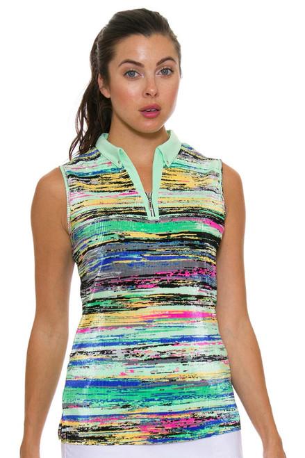 Jamie Sadock Women's Emerald Abstract Stripe Golf Sleeveless