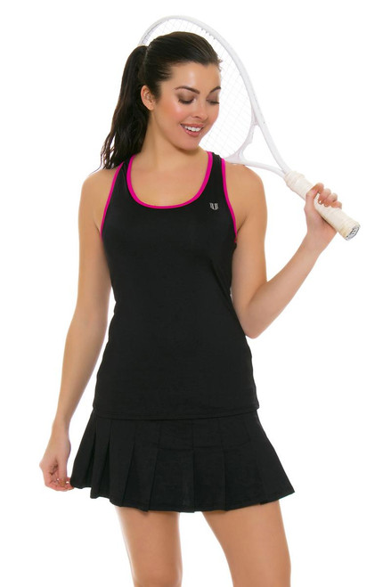 Flutter Pleated Black Tennis Skirt E-CP505C-Black Image 2