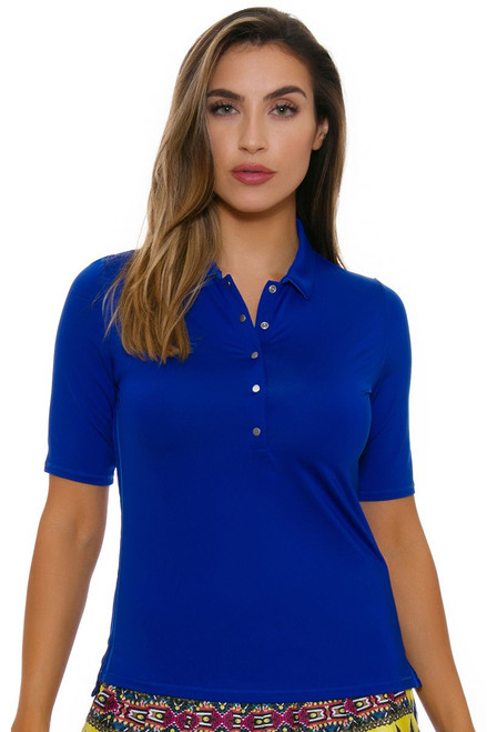 Lucky In Love Women's Foxy Le Snap Half Sleeve Sapphire Golf Polo