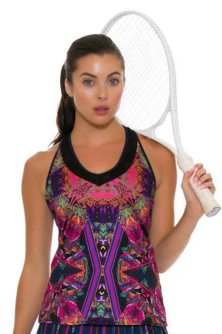 Lucky In Love Women's Athena V-Neck Batik Print Tennis Tank