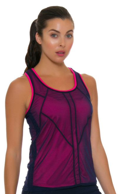 Lucky In Love Women's Athena Mesh Layered Bungee Tennis Tank