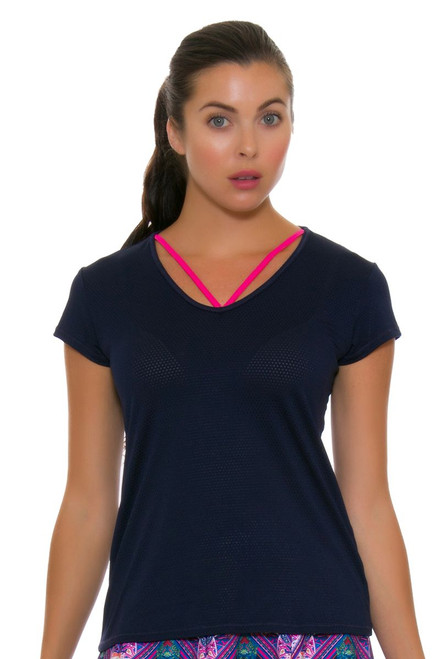 Lucky In Love Women's Athena Lacey V-Neck Tennis Short Sleeve