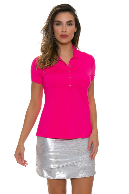 Lucky In Love Women's Metallic Slither Long Silver Golf Skort LIL-GB16-062 Image 1