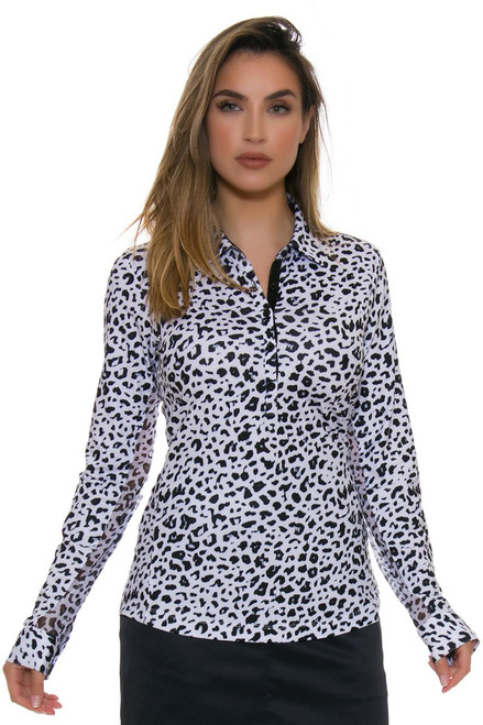 EP Pro NY Women's Basics Leopard Print Golf Long Sleeve Shirt
