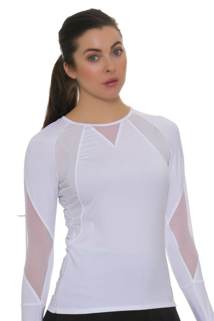 Lucky In Love Women's Core Logo Athletics White Tennis Long Sleeve