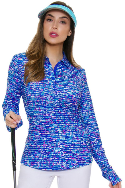 EP Pro NY Women's Basics Splash Dot Print Golf Long Sleeve Shirt