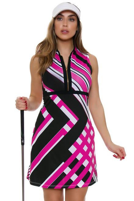 Allie Burke Fine Lines Pink Print Golf Dress