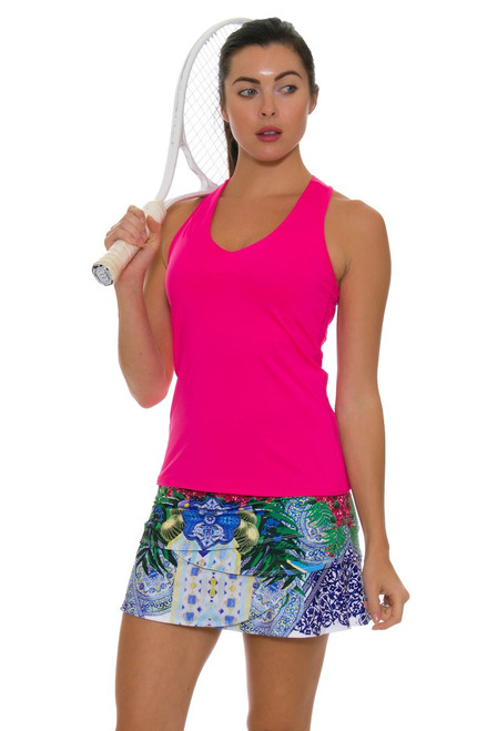 "Lucky In Love Santorini Print Scallop 12"" Tennis Skirt - XL"