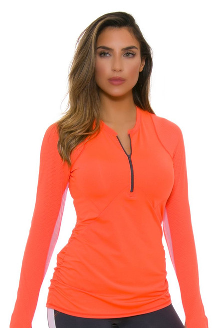 Lucky In Love Women's Spaced Out Athletic Crew Long Sleeve Tennis Top
