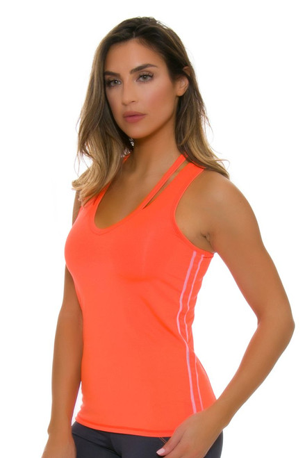 Lucky In Love Women's Spaced Out V Neck Cut Out Tennis Tank