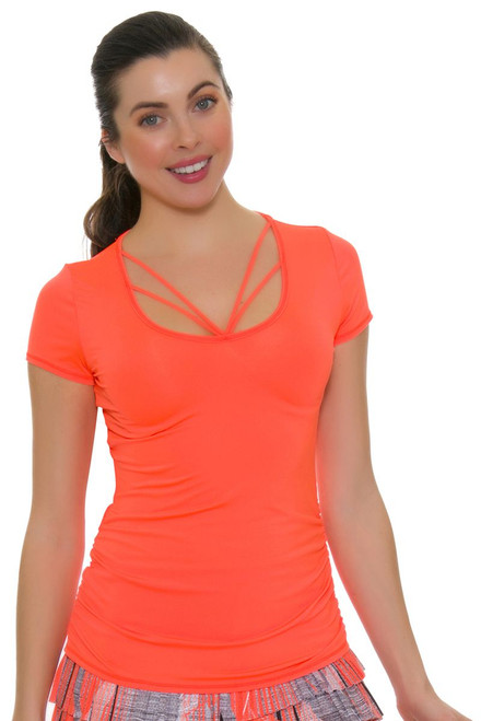 Lucky In Love Women's Spaced Out Contour Strappy Tennis Short Sleeve