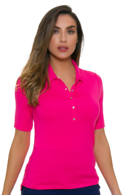Lucky In Love Women's Core Le Snap Half Sleeve Pink Golf Polo