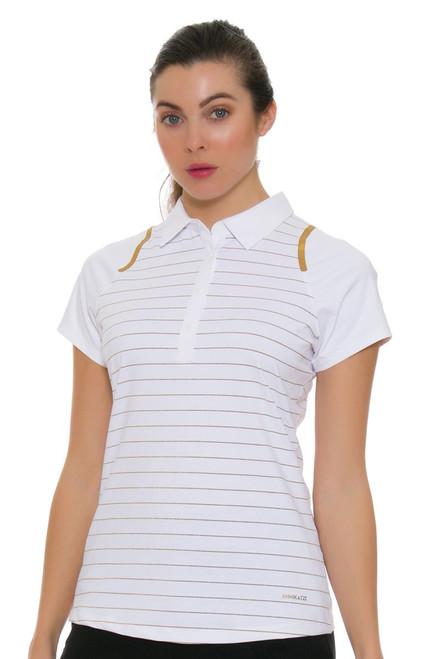 Annika Women's Prize Metallic Stripe Golf Cap Sleeve Polo Shirt