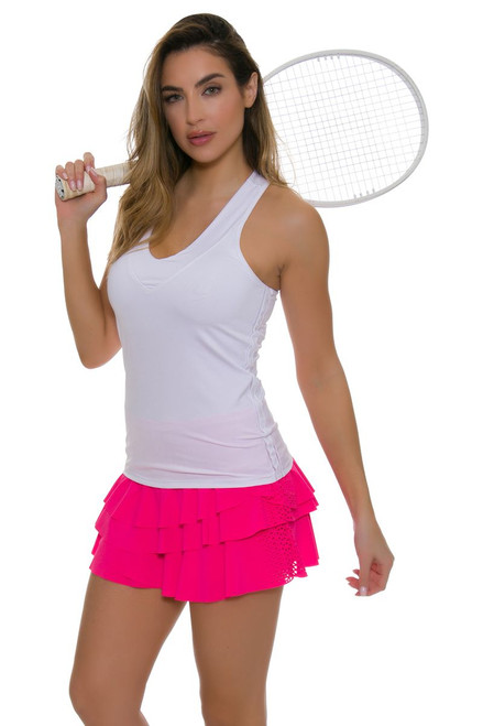 Lucky In Love Women's Core Laser Cut Rally Pleat Pink Tennis Skirt