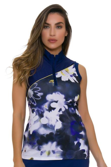 EP Pro NY Women's Spectator Sport Daisy Print Golf Sleeveless Shirt