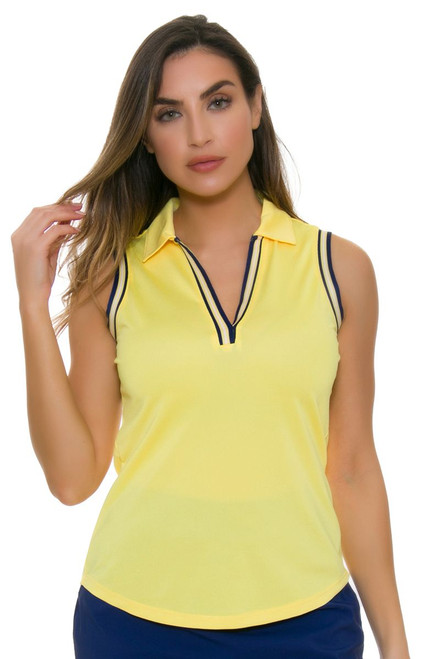 EP Pro NY Women's Spectator Sport Daisy Crossover Placket Golf Sleeveless Shirt