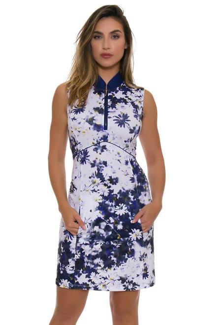 EP Pro NY Women's Spectator Sport Blurred Daisy Print Golf Dress