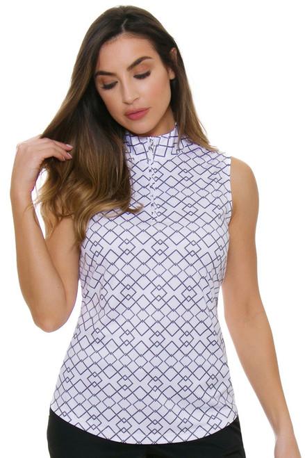 Greg Norman Women's Essentials Rope Geo Golf Sleeveless Shirt