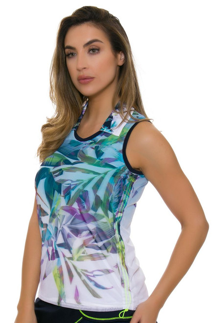 Lucky In Love Women's Haviana Tropical Mesh Layered Golf Sleeveless Shirt