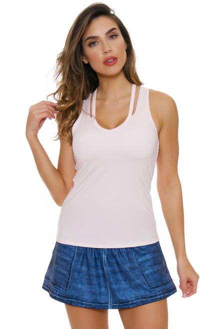 Lucky In Love Women's American Love Story Dark Denim Pocket Tennis Skirt