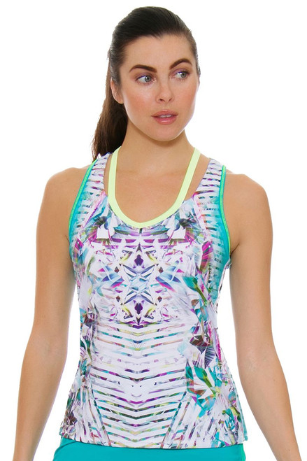 Lucky In Love Women's Haviana V Neck Cut Out Tennis Tank