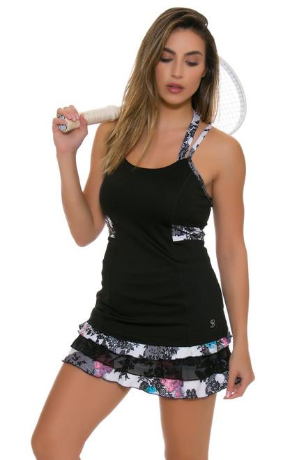"""Sofibella Women's Venice Triple Ruffle Hem 13"""" Tennis Skirt"""