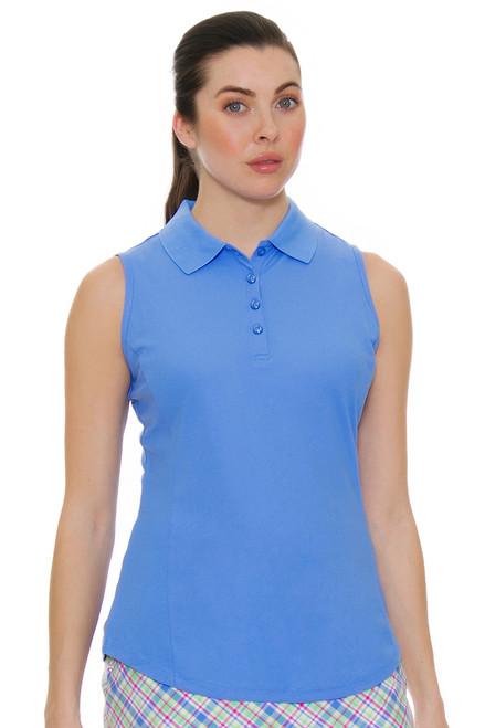Greg Norman Women's Essentials Blue Protek Micro Pique Golf Sleeveless Shirt