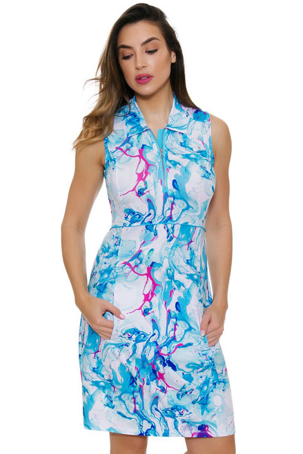 EP Pro NY Al Fresco Watercolor Marble Print Golf Dress