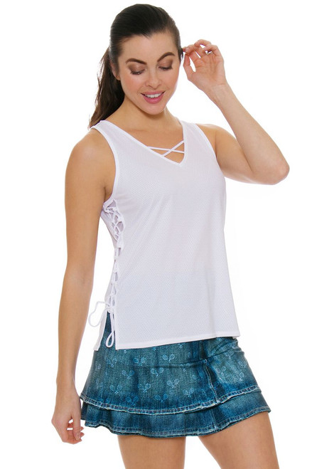 Lucky In Love Women's American Love Story Long Denim Tennis Skirt