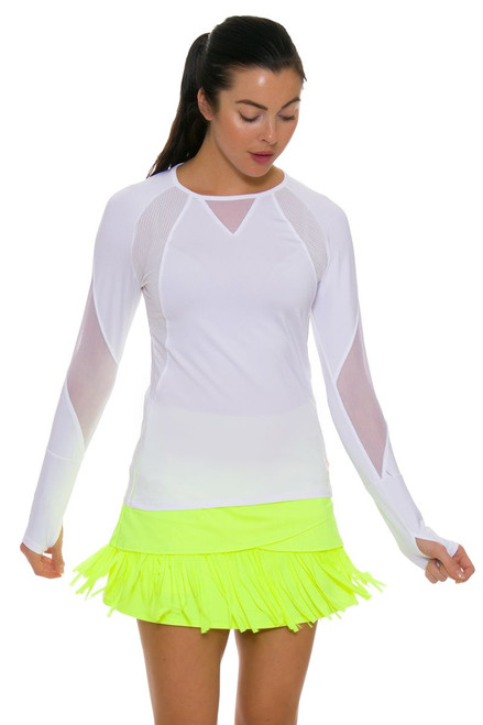 Lucky In Love Women's Long Fringe Scallop Yellow Tennis Skirt