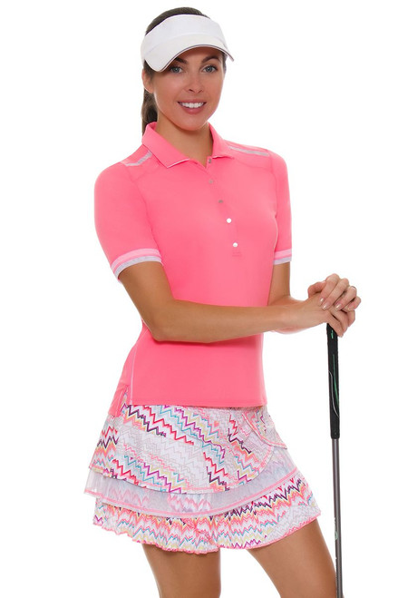 Lucky In Love Women's High Frequency Ecstatic Pleated Tier Pull On Golf Skort