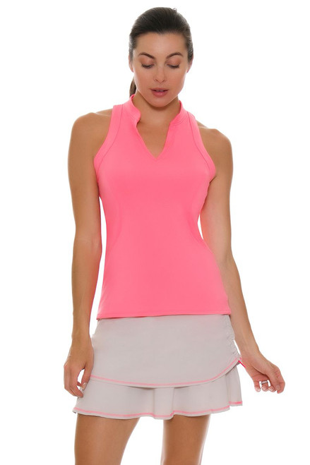 Lucky In Love Women's High Frequency Ruched Tier Pull On Golf Skort