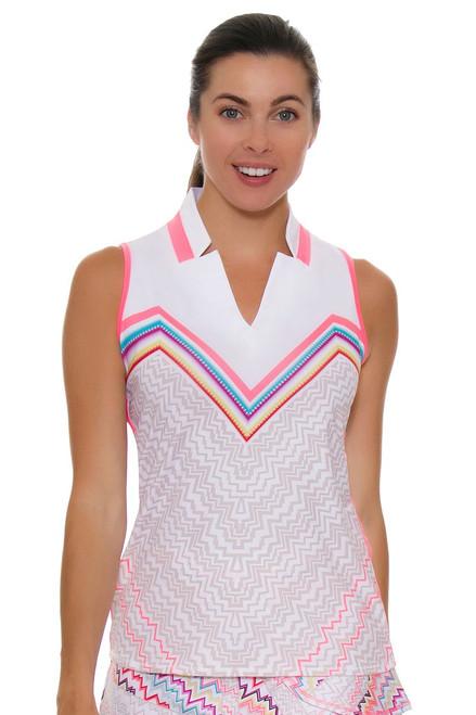 Lucky In Love Women's High Frequency Vigorous Notch Golf Sleeveless Shirt