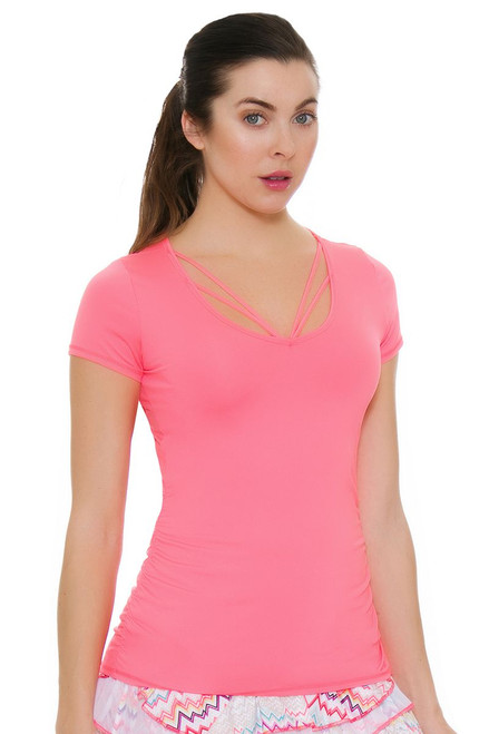 Lucky In Love Women's High Frequency Contour Strappy Tennis Short Sleeve