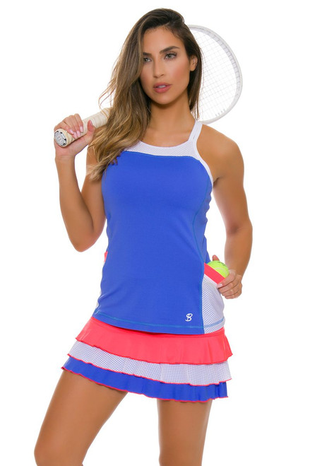 "Sofibella Women's Montreal Triple Ruffle Hem 13"" Tennis Skirt"