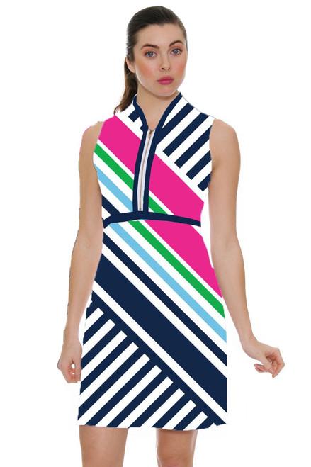 Allie Burke Colored Geo Cross Stripe Golf Dress