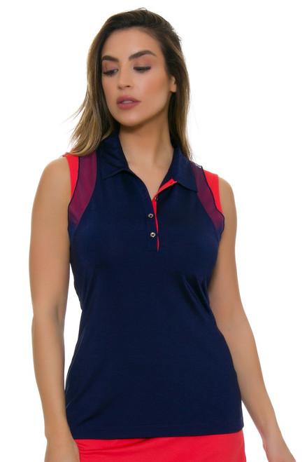 EP Pro NY Women's Graphic Jam Contrast Trim Mesh Golf Sleeveless Shirt