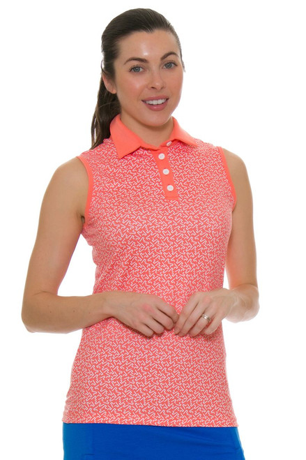Redvanly Women's Echo Garden R Print Peach Golf Sleeveless Polo