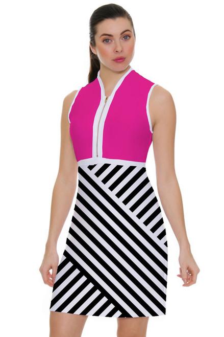 Allie Burke Cross Geo Stripe Pink Golf Dress